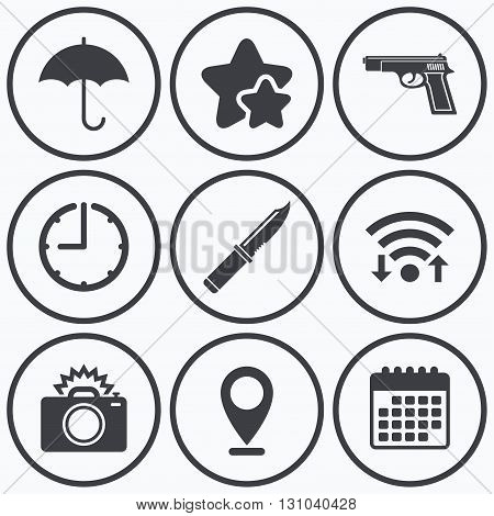 Clock, wifi and stars icons. Gun weapon icon.Knife, umbrella and photo camera with flash signs. Edged hunting equipment. Prohibition objects. Calendar symbol.
