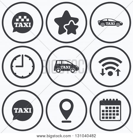 Clock, wifi and stars icons. Public transport icons. Taxi speech bubble signs. Car transport symbol. Calendar symbol.