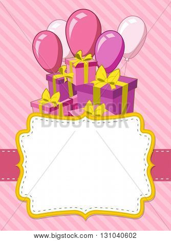 Pink card with a birthday party. Balloons and presents.