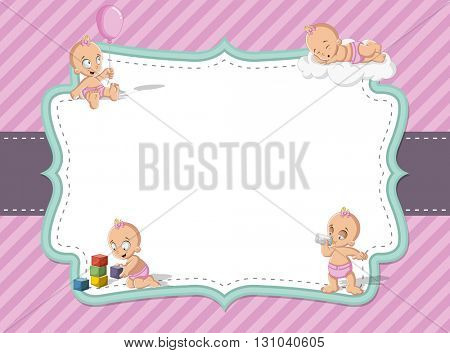 Card with a baby girl wearing diaper. Cute toddler.