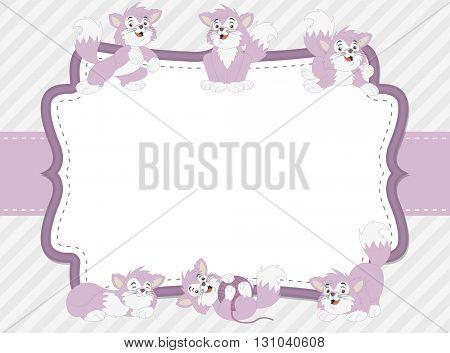 Pink card with a cartoon purple kitten. Cute playful cat.