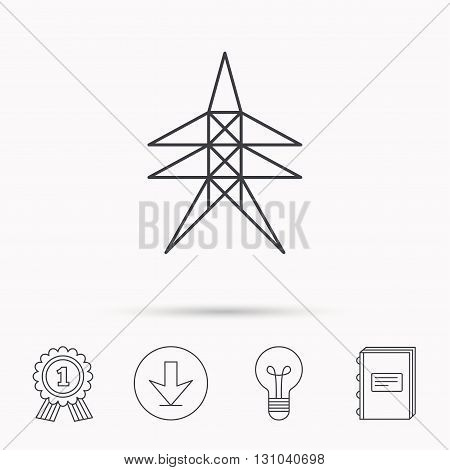 Electricity station icon. Power tower sign. Download arrow, lamp, learn book and award medal icons.