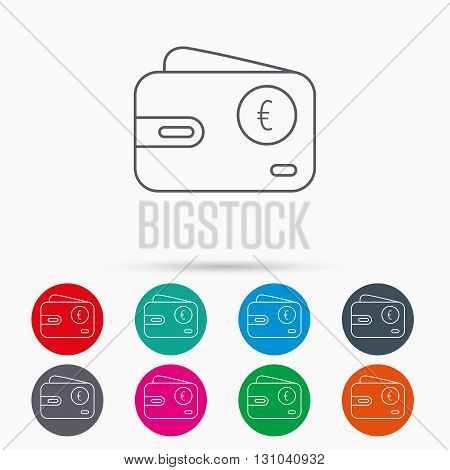 Euro wallet icon. EUR cash money bag sign. Linear icons in circles on white background.