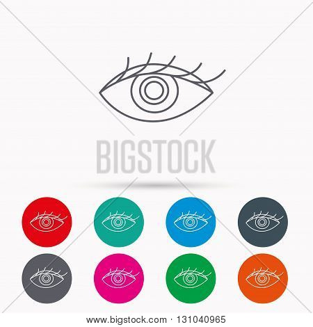 Eye icon. Human vision sign. Ophthalmology symbol. Linear icons in circles on white background.