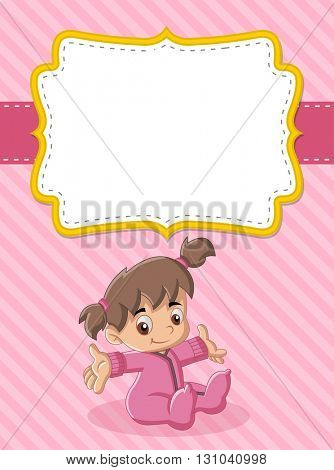Card with a baby girl. Cute toddler.