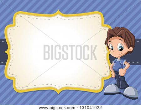 Card with a happy cartoon boy