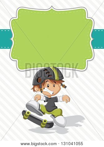 Card with a cute happy cartoon boy on a skate