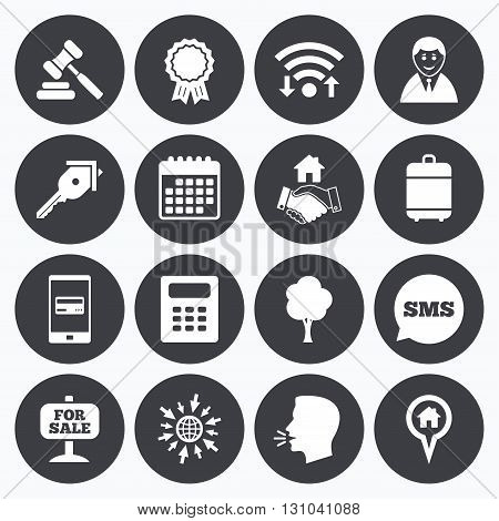 Wifi, calendar and mobile payments. Real estate, auction icons. Handshake, for sale and calculator signs. Key, tree and award medal symbols. Sms speech bubble, go to web symbols.