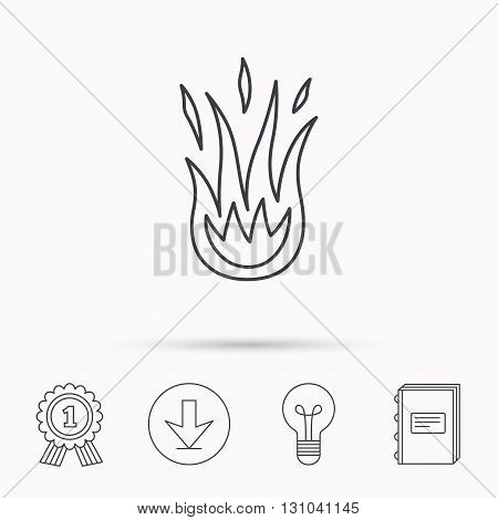 Fire icon. Hot flame sign. Download arrow, lamp, learn book and award medal icons.