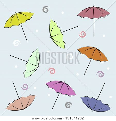 Summer Backdrop With Umbrellas, Seashells and Circles