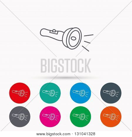 Flashlight icon. Light beam sign. Electric lamp tool symbol. Linear icons in circles on white background.
