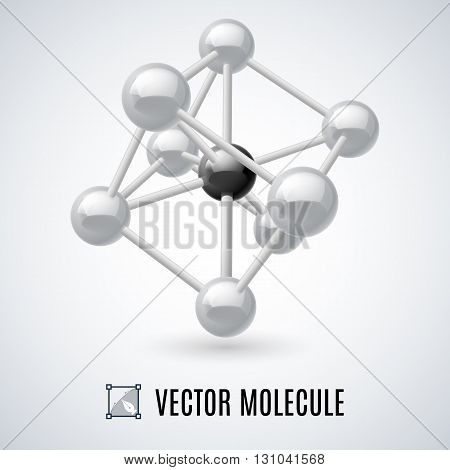 White molecular structure isolated on a gray background