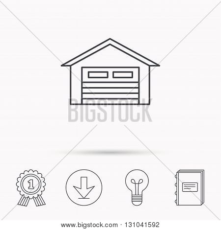 Auto garage icon. Transport parking sign. Download arrow, lamp, learn book and award medal icons.