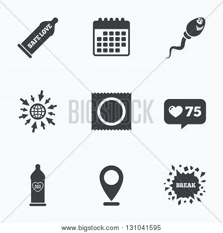Calendar, like counter and go to web icons. Safe sex love icons. Condom in package symbol. Sperm sign. Fertilization or insemination. Heart symbol. Location pointer.