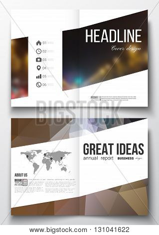 Set of business templates for brochure, magazine, flyer, booklet or annual report. Dark polygonal background, blurred image, night city landscape, car traffic, modern triangular texture.