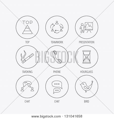 Teamwork, presentation and phone call icons. Chat speech bubble, hourglass and bird linear signs. Smoking, pyramid icons. Linear colored in circle edge icons.