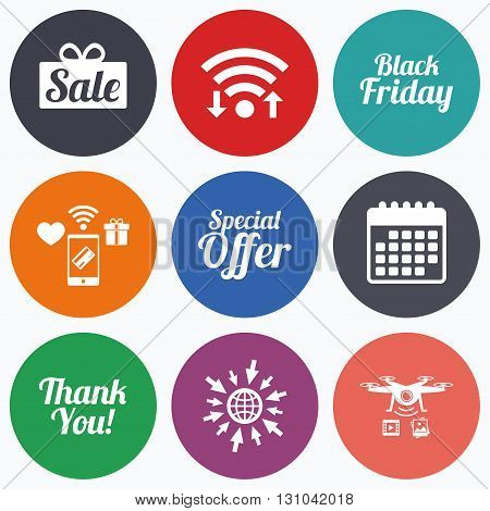 Wifi, mobile payments and drones icons. Sale icons. Special offer and thank you symbols. Gift box sign. Calendar symbol.