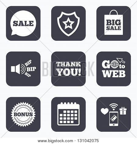 Mobile payments, wifi and calendar icons. Sale speech bubble icon. Thank you symbol. Bonus star circle sign. Big sale shopping bag. Go to web symbol.