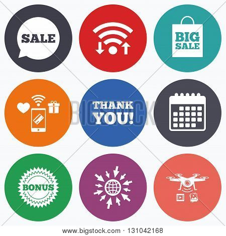 Wifi, mobile payments and drones icons. Sale speech bubble icon. Thank you symbol. Bonus star circle sign. Big sale shopping bag. Calendar symbol.