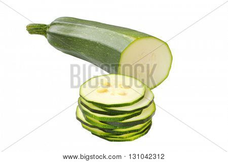 sliced zucchini isolated on white