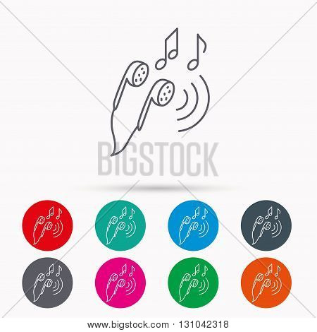 Headphones icon. Musical notes signs. Linear icons in circles on white background.