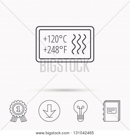 Heat resistant icon. Microwave or dishwasher information sign. Attention symbol. Download arrow, lamp, learn book and award medal icons.