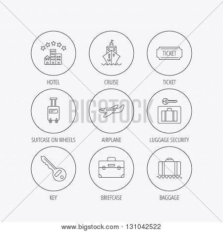 Hotel, cruise ship and airplane icons. Key, baggage and briefcase linear signs. Luggage security and ticket flat line icons. Linear colored in circle edge icons.