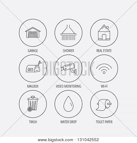 Wi-fi, video monitoring and real estate icons. Toilet paper, shower and water drop linear signs. Trash, garage flat line icons. Linear colored in circle edge icons.