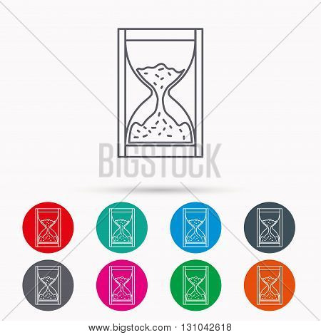Hourglass icon. Sand time sign. Linear icons in circles on white background.