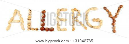 Word ALLERGY made with nuts isolated on white