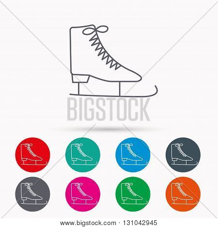 Ice skates icon. Figure skating equipment sign. Professional winter sport symbol. Linear icons in circles on white background.