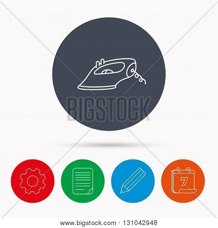 Iron icon. Ironing housework sign. Laundry service symbol. Calendar, cogwheel, document file and pencil icons.