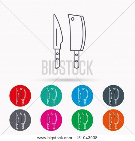 Butcher and kitchen knives icon. Chef tools symbol. Linear icons in circles on white background.
