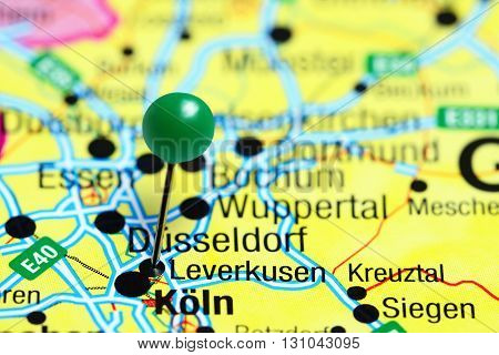 Leverkusen pinned on a map of Germany