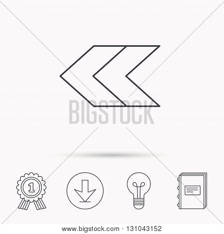 Left arrow icon. Previous sign. Back direction symbol. Download arrow, lamp, learn book and award medal icons.
