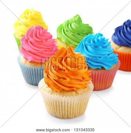 Birthday cupcakes isolated on white