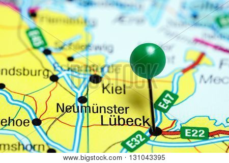 Lubeck pinned on a map of Germany