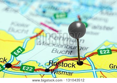 Rostock pinned on a map of Germany