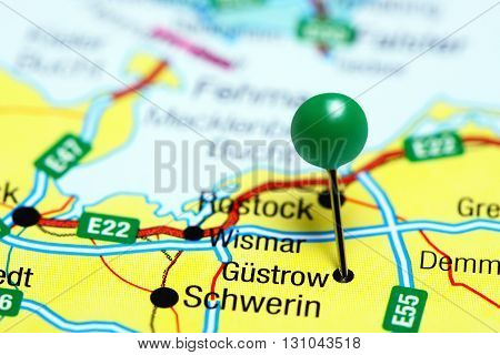 Gustrow pinned on a map of Germany