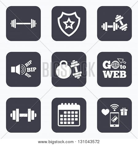 Mobile payments, wifi and calendar icons. Dumbbells sign icons. Fitness sport symbols. Gym workout equipment. Go to web symbol.