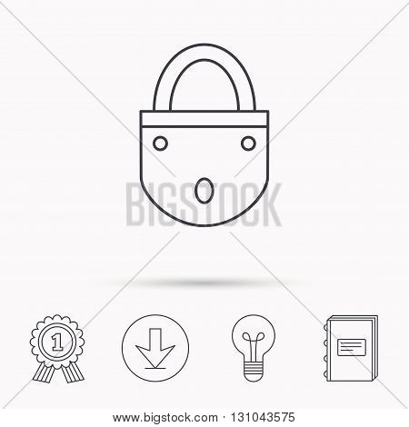 Lock icon. Padlock or protection sign. Password symbol. Download arrow, lamp, learn book and award medal icons.