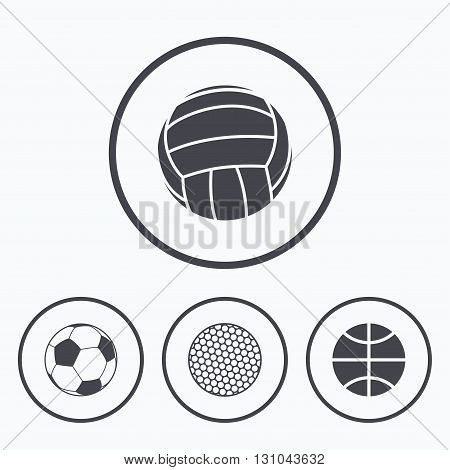 Sport balls icons. Volleyball, Basketball, Soccer and Golf signs. Team sport games. Icons in circles.