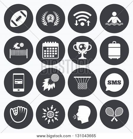 Wifi, calendar and mobile payments. Sport games, fitness icons. Football, golf and baseball signs. Swimming, rugby and winner medal symbols. Sms speech bubble, go to web symbols.