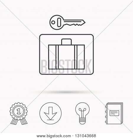 Luggage icon. Baggage security sign. Download arrow, lamp, learn book and award medal icons.