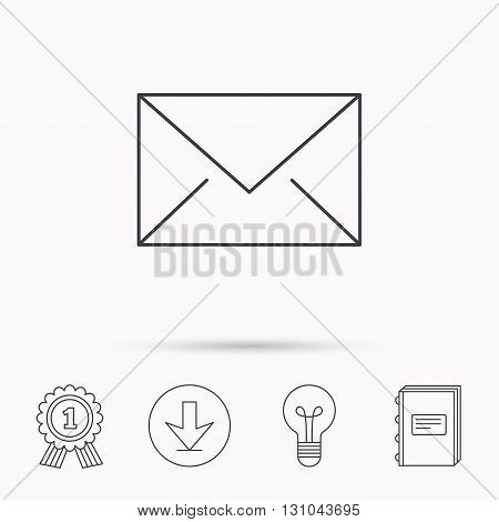 Envelope mail icon. Email message sign. Internet letter symbol. Download arrow, lamp, learn book and award medal icons.