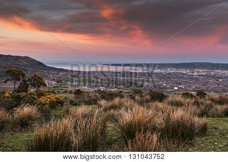 Aerial panorama of Belfast at sunset. Belfast Northern Ireland United Kingdom.