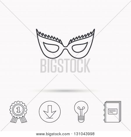 Festive mask icon. Masquerade carnival sign. Anonymous symbol. Download arrow, lamp, learn book and award medal icons.