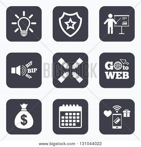 Mobile payments, wifi and calendar icons. Presentation billboard icon. Dollar cash money and lamp idea signs. Man standing with pointer. Teamwork symbol. Go to web symbol.