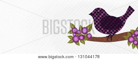 Magenta colored scene-  banner with checkered bird sitting on flowering limb, checkered white background.