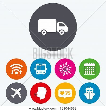 Wifi, like counter and calendar icons. Transport icons. Truck, Airplane, Public bus and Ship signs. Shipping delivery symbol. Air mail delivery sign. Human talk, go to web.